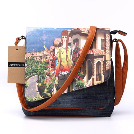Vintage Eiffel Tower Print Denim Crossbody Bag