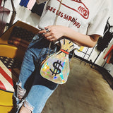 Creative Embroidery Laser Dollar Sign Handbag