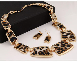 Leopard Print Geometric Link Chain Necklace Hook Earring Jewelry Set