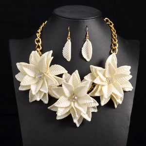 Flower Pendant Necklace Leaf Earrings Choker Jewelry Set