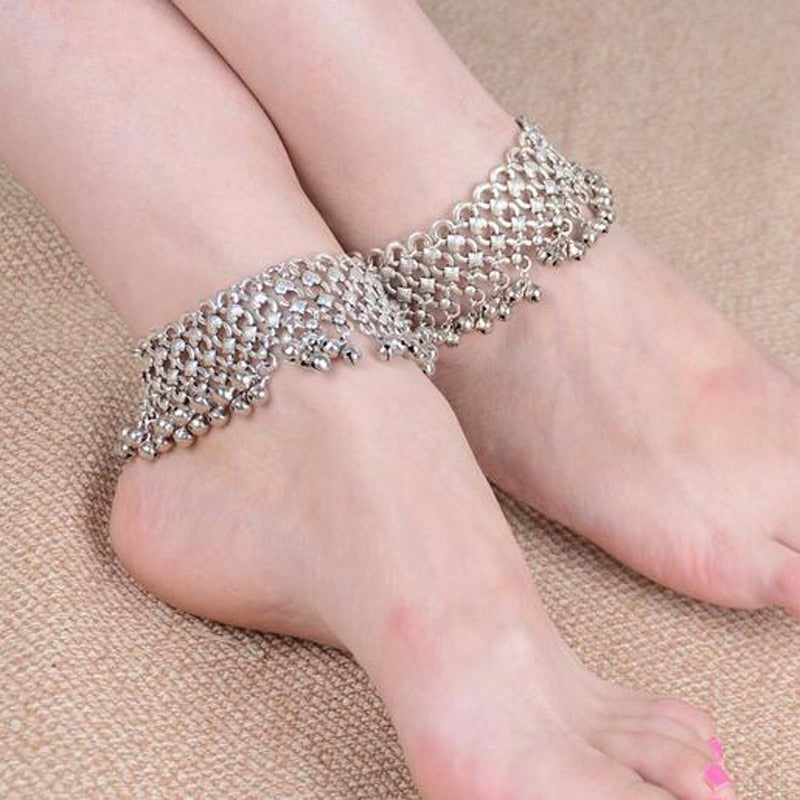 Antique Silver Chain Lots Bell Beads Ankle Bracelet