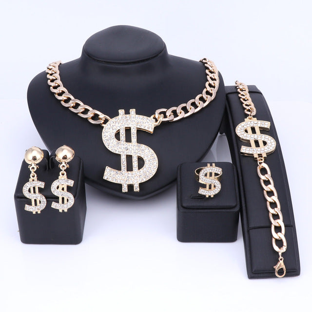Dollar Sign Shape Pendant Cold Chain Jewelry Set