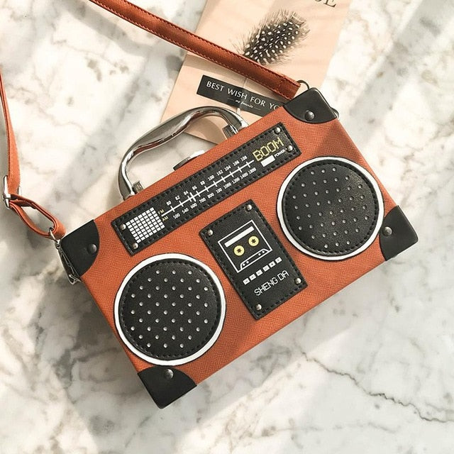 Retro Radio Box Style PU Leather Crossbody Bag