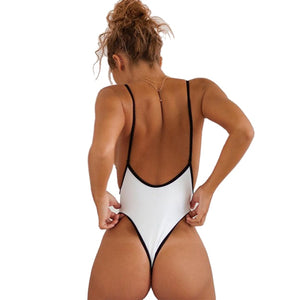 Deep V Neck Backless High Leg Cut One Piece Swimwear