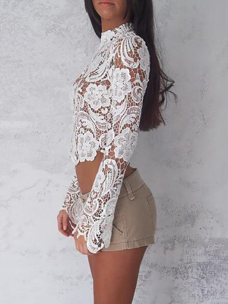 Floral Lace Turtleneck Long Sleeve See Through Blouse Shirt Dress