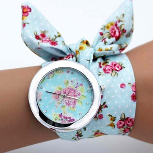 Flower Cloth Quartz Round Bracelet Watch