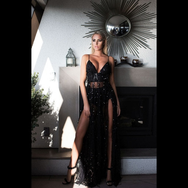 Sequined Fringed Backless Spaghetti Strap Slit Party Dress