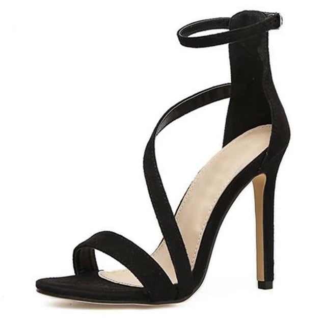 Cross Tied Buckle Thin High Heel