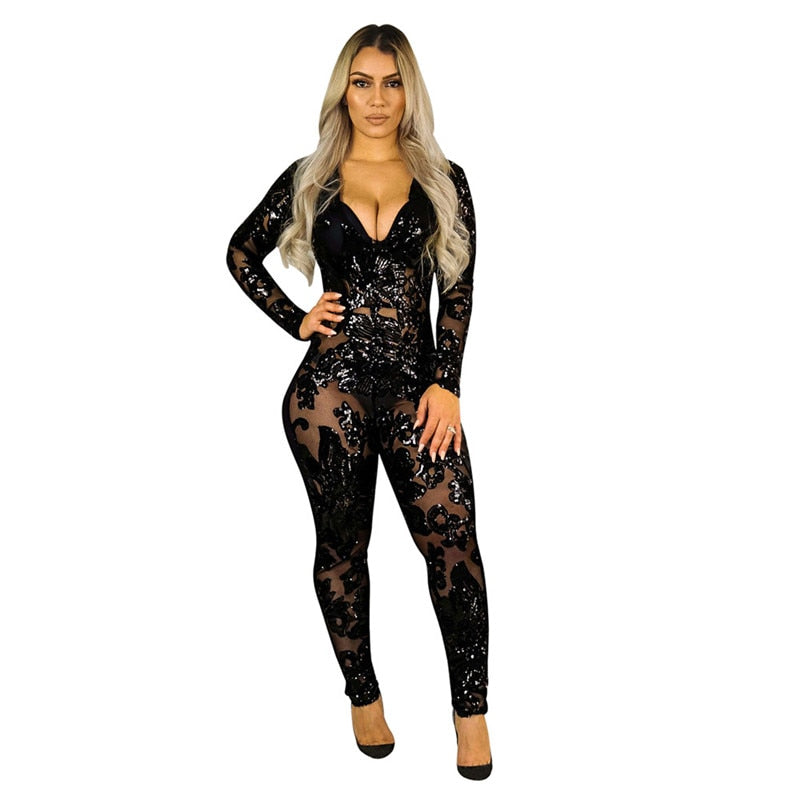 See Through Sequined Long Sleeve Sparkly Bodycon Jumpsuit