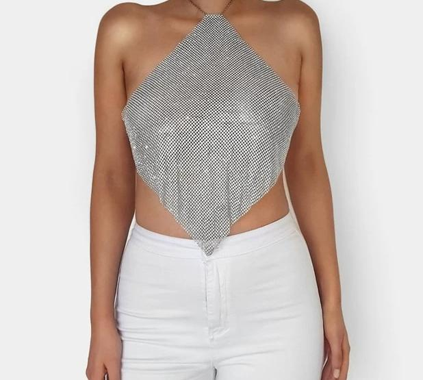 Handmade Rhinestone Backless Metal Chain Tank Top