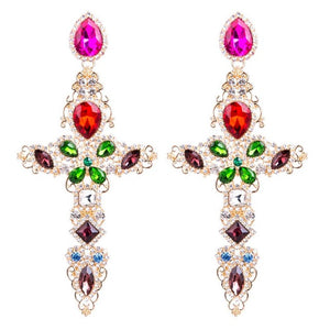 Baroque Gold Big Cross with Colorful Rhinestones Drop Earrings