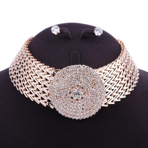 Classic Style Rhinestone Crystal Thick Chain Choker Necklace Earrings Jewelry Set