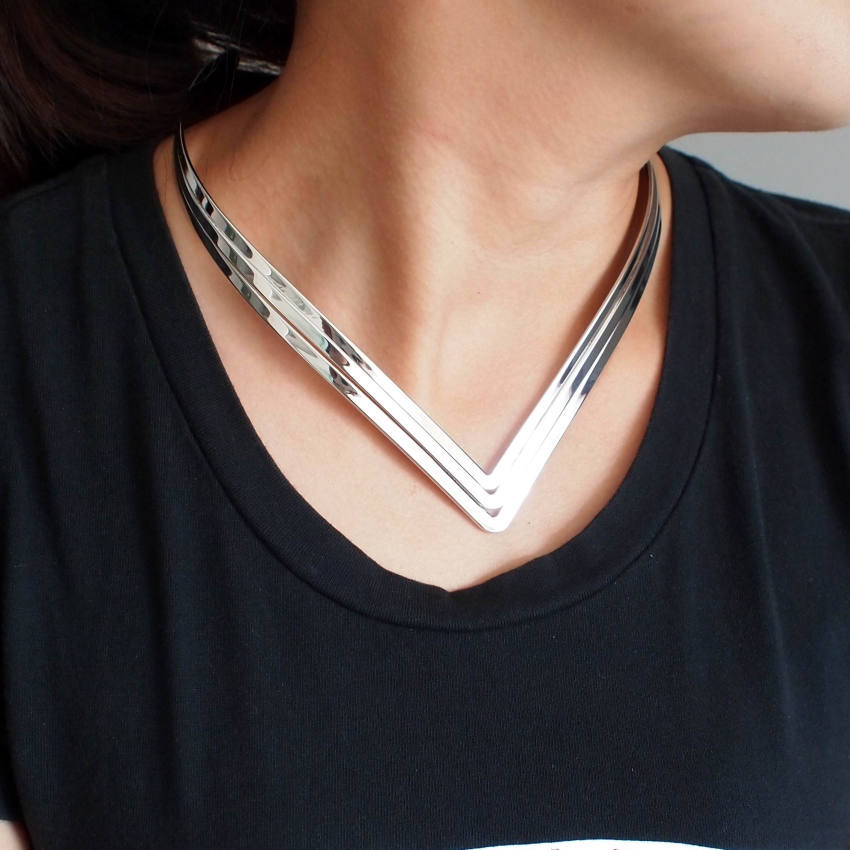 Three Layer Bright Metal Torques Bib Choker Necklace