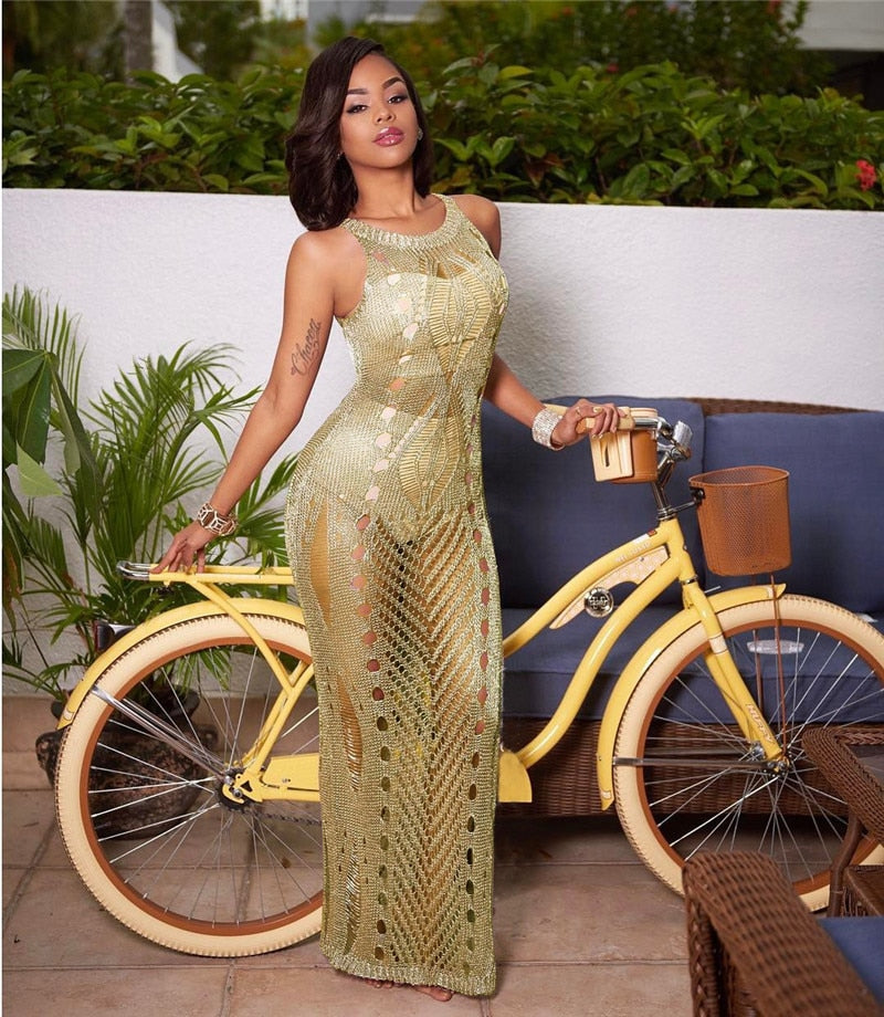 Gold Crochet O Neck Sleeveless Maxi Dress
