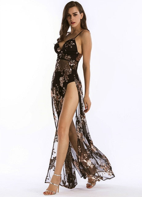 Embroidery Sequined High Slit Sheer Maxi Dress