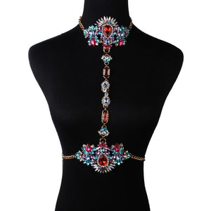 Colorful Rhinestone Crystals Bejeweled Body Chain