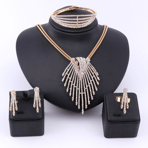 Crystal Fine African Bead Pendant Jewelry Set