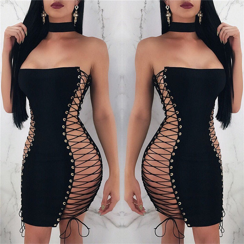 Summer Hollow Out Lace Up Party Bodycon Dresses