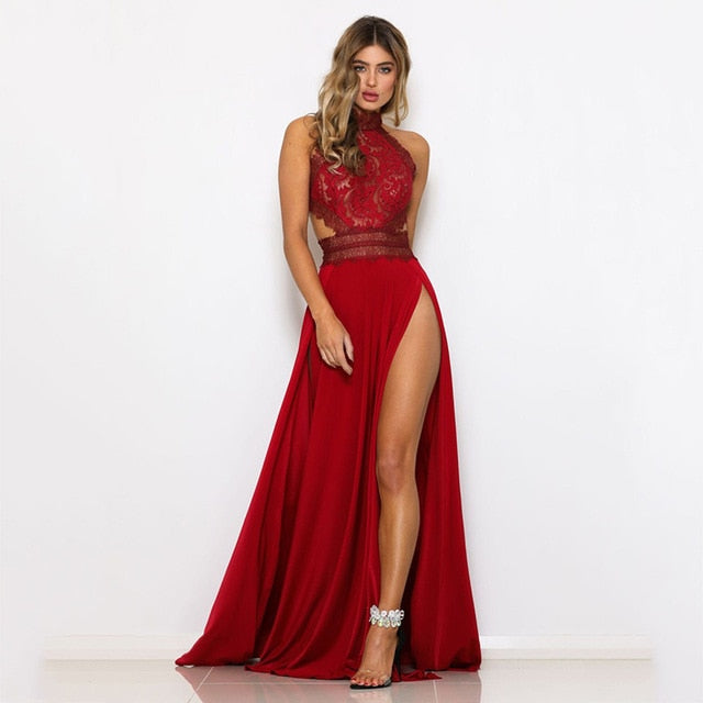 Halter Neck Sleeveless  Lace Crochet Sexy Maxi Dress