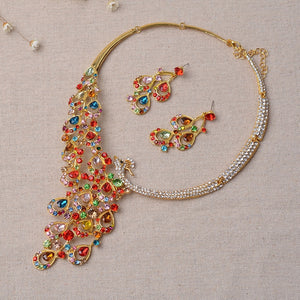 Peacock Rhinestone Crystal Statement Necklace Earrings Jewelry Set