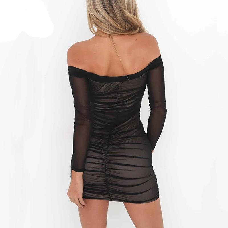 Off Shoulder Mesh Long Sleeve Ruched Bodycon Dress
