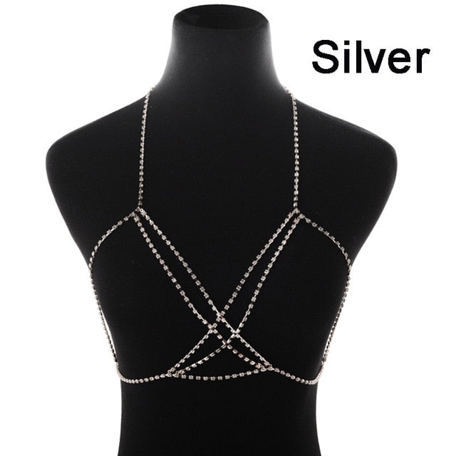 Full Rhinestone Double Crisscross Crystal Bra Chain