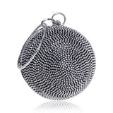 Round Shaped Crystal Diamonds Clutch Bag