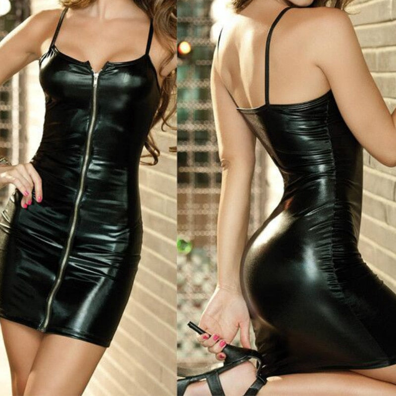 Faux PU Zipper Front Tights Leather Wet Look Bodycon Dress
