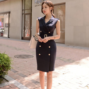 Notched Collar Double Breasted Sleeveless High Waist Belted Bodycon Dress