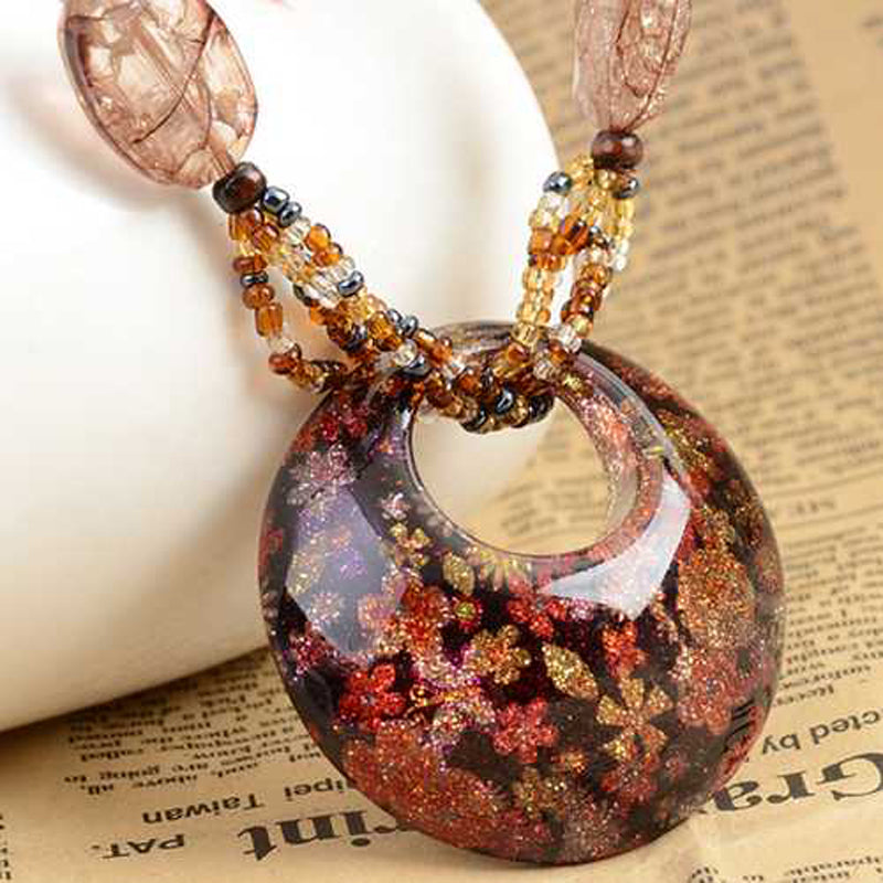 Bohemian Crystal Bead Pendant Long Chain Necklace