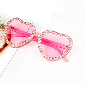 Heart Shape Rhinestone Resin Retro Sunglasses