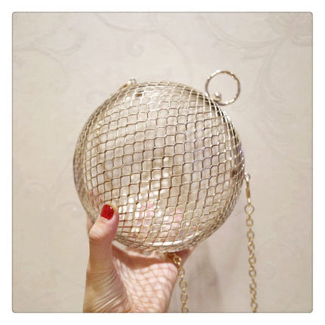 Hollow Out Metal Round Ball Design Crossbody Bag
