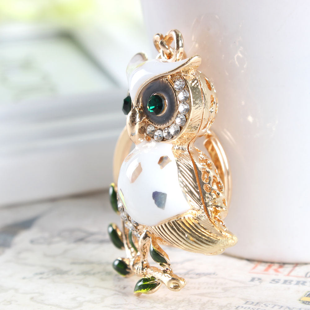 Cute Owl Branch Crystal Key Chain