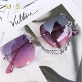 Rimless Fashion Square Sunglasses