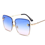 Golden Thin Frame Square Sunglasses