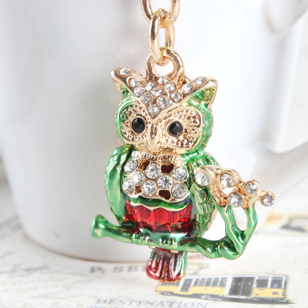 Lovely Crystal Mini Owl Branch Cute Key Chain