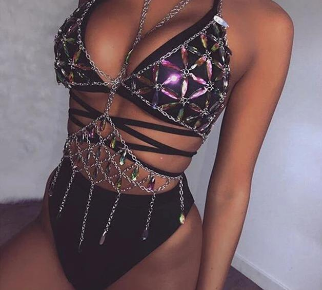 Bling Metal Tassel Backless Rave Body Chain Tank Top