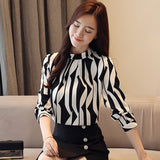 Long Sleeved Printed Fashion Stand Collar Blouse