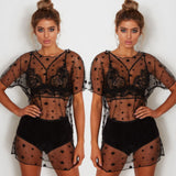 See-Through Mesh Cover Up Short Sleeve Blouse