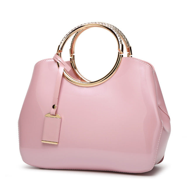 Versatile Ring Handle High Quality Soft Patent Leather Handbag