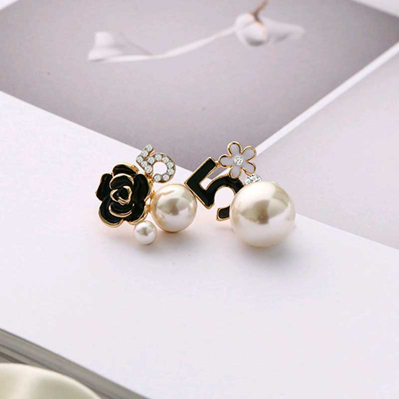 Pearl Number 5 Long Chain Dangle Stud Earrings