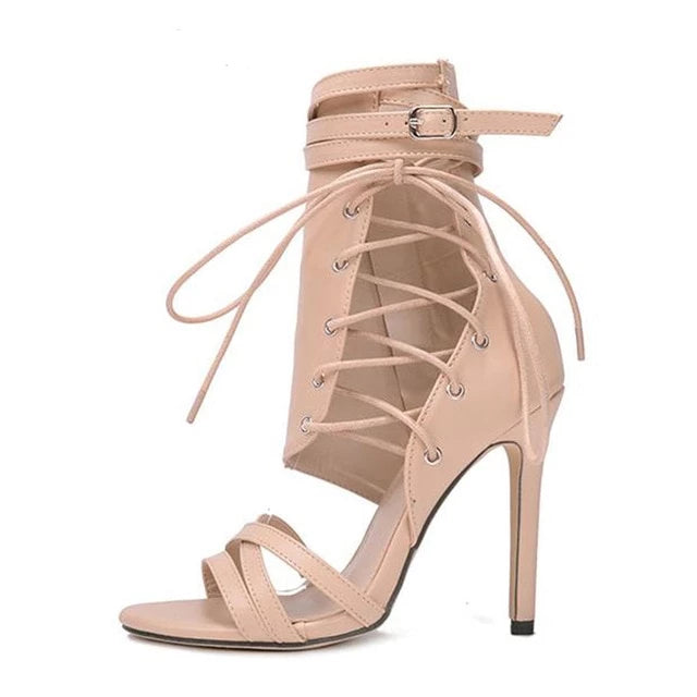 Buckle Strap Lace Up Peep Toe High Heel