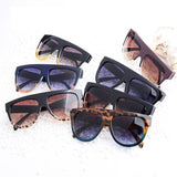 Flat Top Oversized Retro Sunglasses