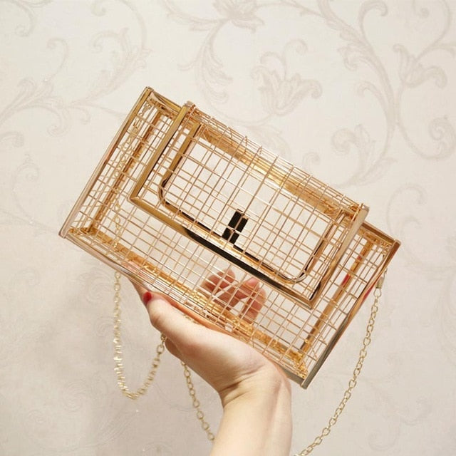 Boutique Metal Hollow Cage Box Handbag