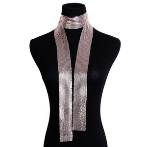 Scarf Style Sequins Punk Statement Long Choker Necklace
