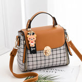 Plaid PU Leather Flap Metal Buckle Zipper Hasp Pocket Handbag