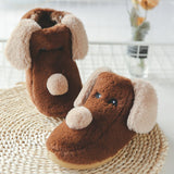 Soft Sole Cartoon Dog Cotton Plush Indoor Slippers