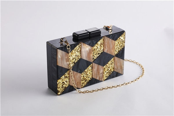 Vintage Acrylic Pearlescent Patchwork Gold Sequins Clutch Bag