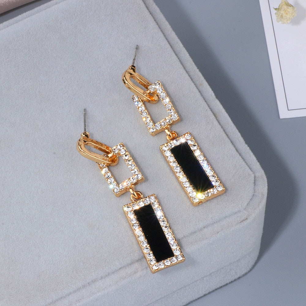 Geometric Crystal Long Dangle Earrings