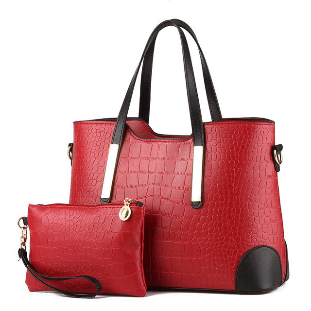 Animal Hard Leather Casual Tote Double Handle Zipper Handbag